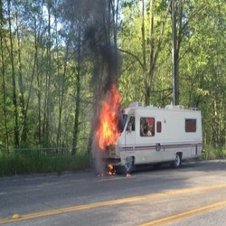 motor home on fire picture